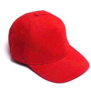 Бейсболка полувелюр красный