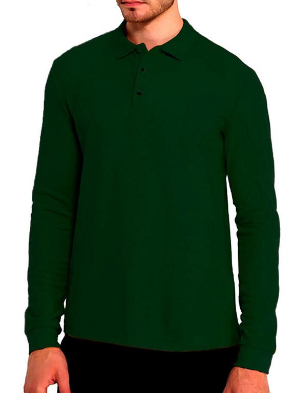 Поло с длинным рукавом темно-зеленая