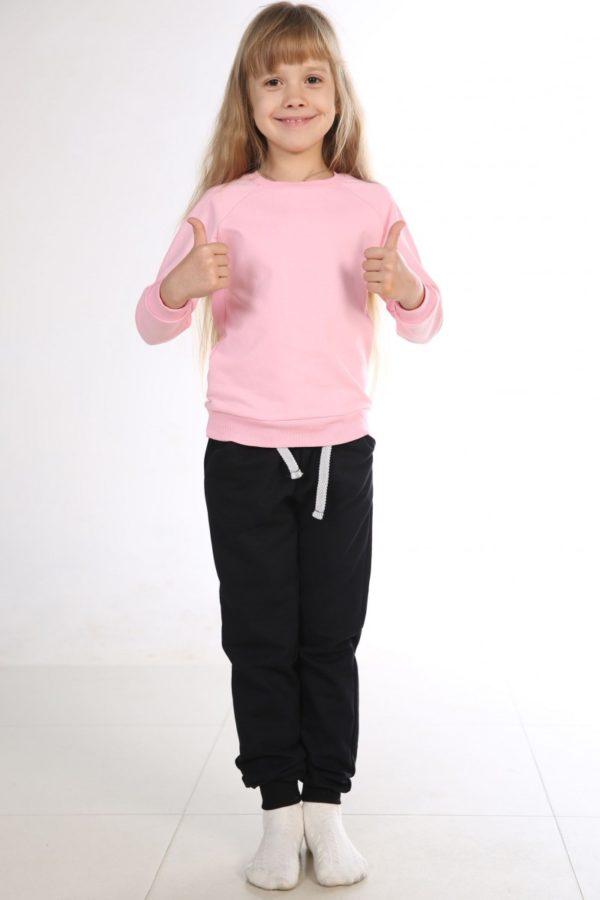 Костюм спортивный детский брюки-свитшот розовый-черный