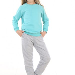 Костюм спортивный детский брюки-свитшот бирюза-меланж