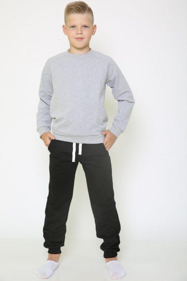 Костюм спортивный детский брюки-свитшот меланж-черный