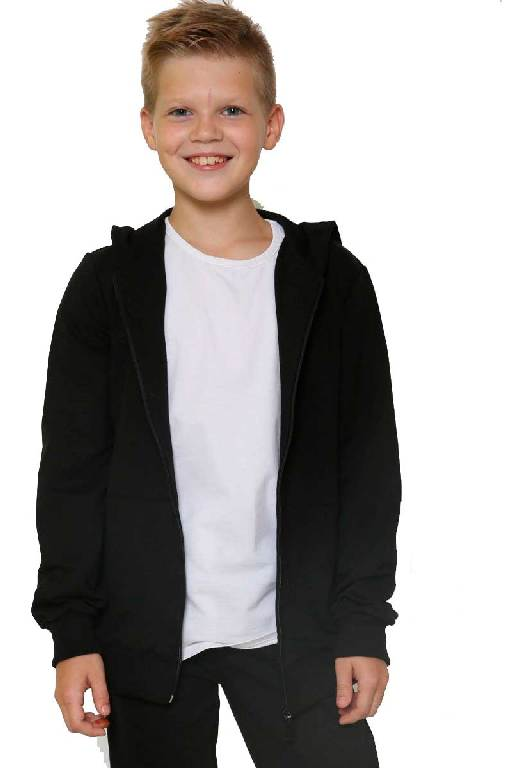 Толстовка детская на молнии черная