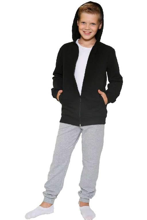 Костюм детский брюки-толстовка на молнии черный-меланж