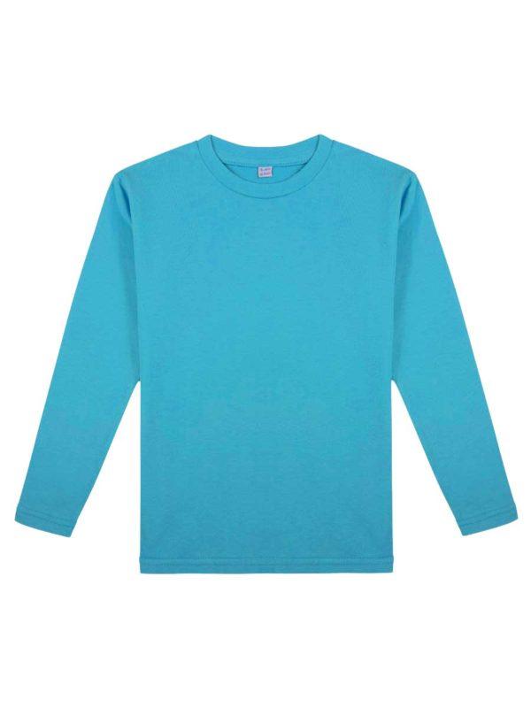 Детская футболка с длинным рукавом лазурь