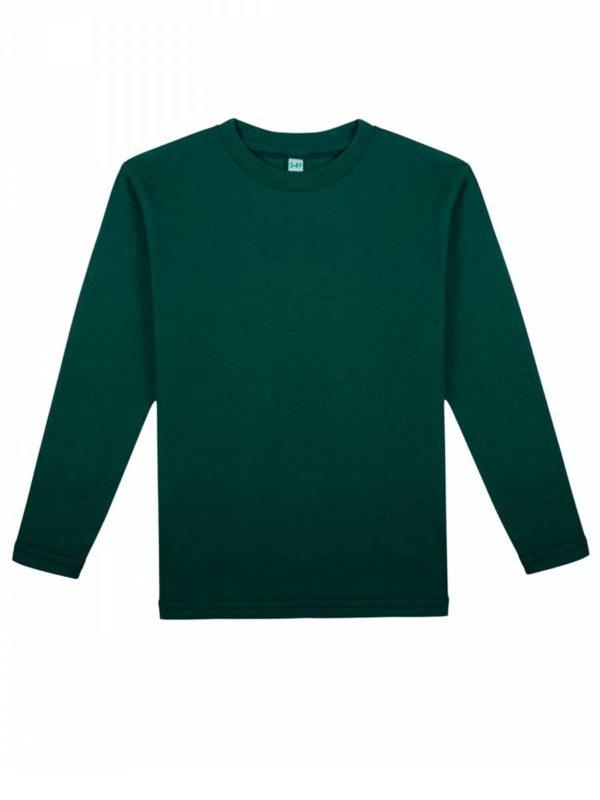 Детская футболка с длинным рукавом темно-зеленая