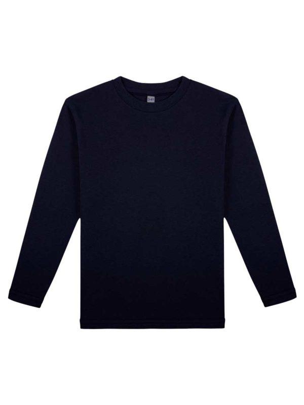 Детская футболка с длинным рукавом темно-синяя
